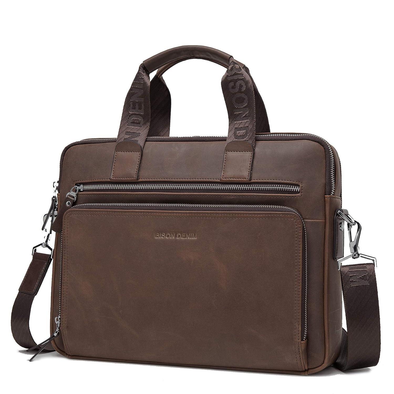 Bison Denim Men Soft Genuine Leather Messenger Bag Briefcase Handbag Satchels Ipad Bag