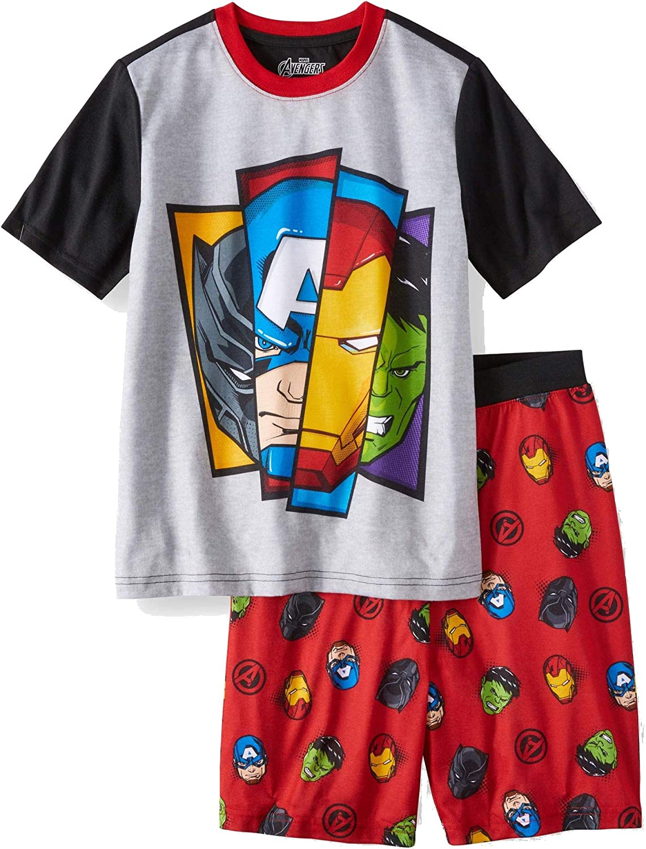 Boy's Avengers 2 Piece Short Sleeve Shirt & Shorts Pajama Set (Medium 8) Gray