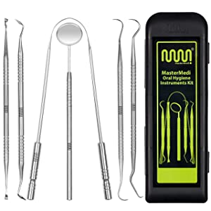 100% Stainless Steel Dental Tools - 6 Pack Teeth Cleaning Set, Plaque Remover and Oral Care for Adults, Kids and Pets, Includes Tongue Scraper, Dental Mirror, Probe, Burnisher and 2 Scalers
