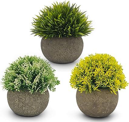 3 Pcs Artificial Green Grass Plants in Grey Pots Small Faux Plastic Plants Pots