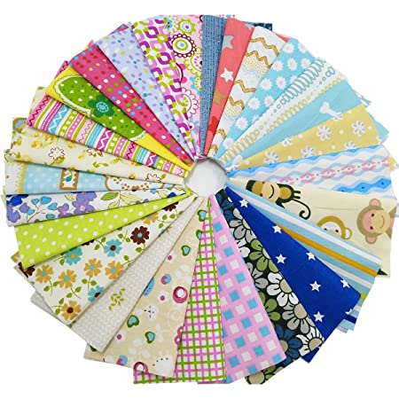 "50 X 5/"" SPOTS FABRIC PATCHWORK MATERIAL SQUARES SEWING CRAFT SPOTTY DOTS 15cm"