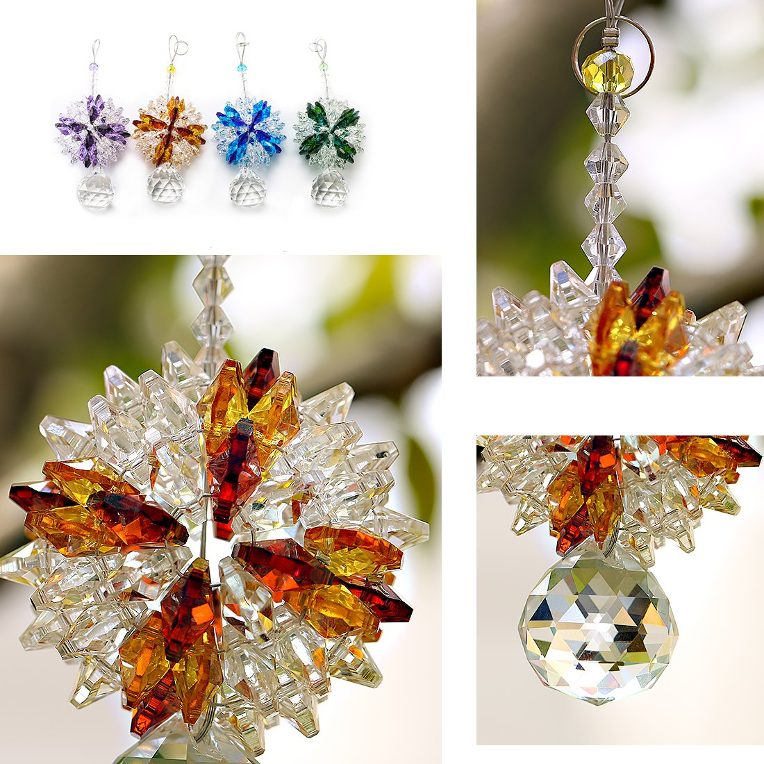 H/&D Fengshui Hanging Suncatcher with Chandelier Crystal Ball Prism Pendant 30mm Amber