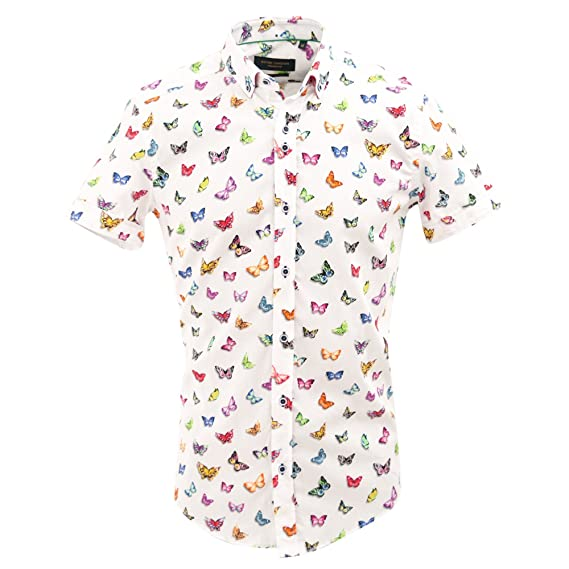 c068582bb4a Guide London White Vibrant Butterfly Print Cotton Mens Short Sleeve ...