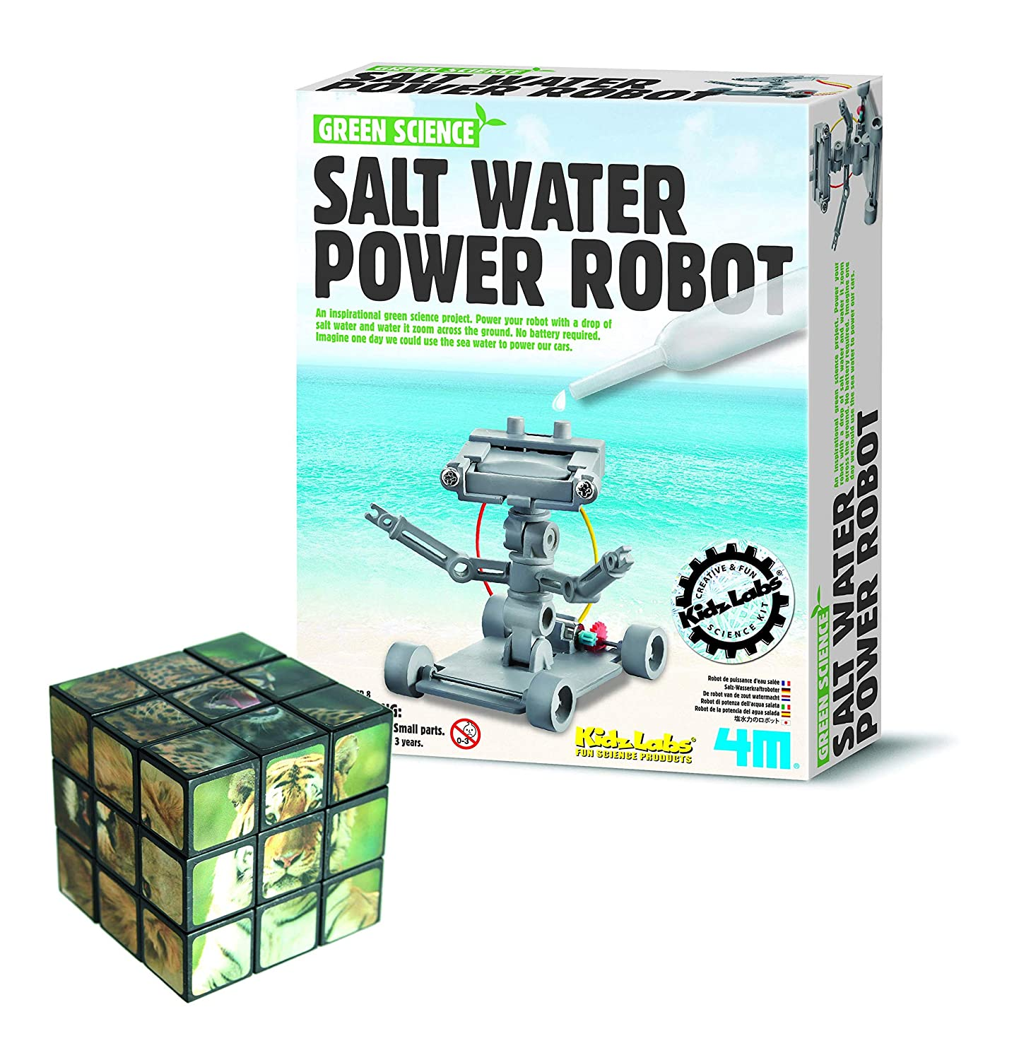 Thoughtful Gifts Salt Water Robot DIY Educational Electronics Kit - Comes with a Fun Wild Animal Magic Cube Gadget & Gift Store