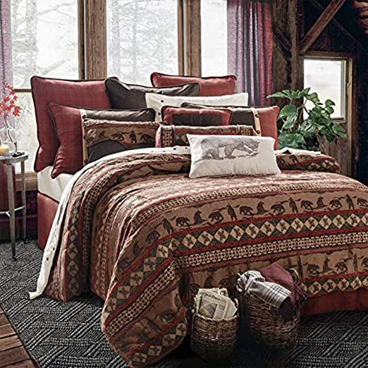 BEAUTIFUL COZY LODGE LOG CABIN BEAR HUNTING SOUTHWEST RED BROWN GREEN QUILT SET
