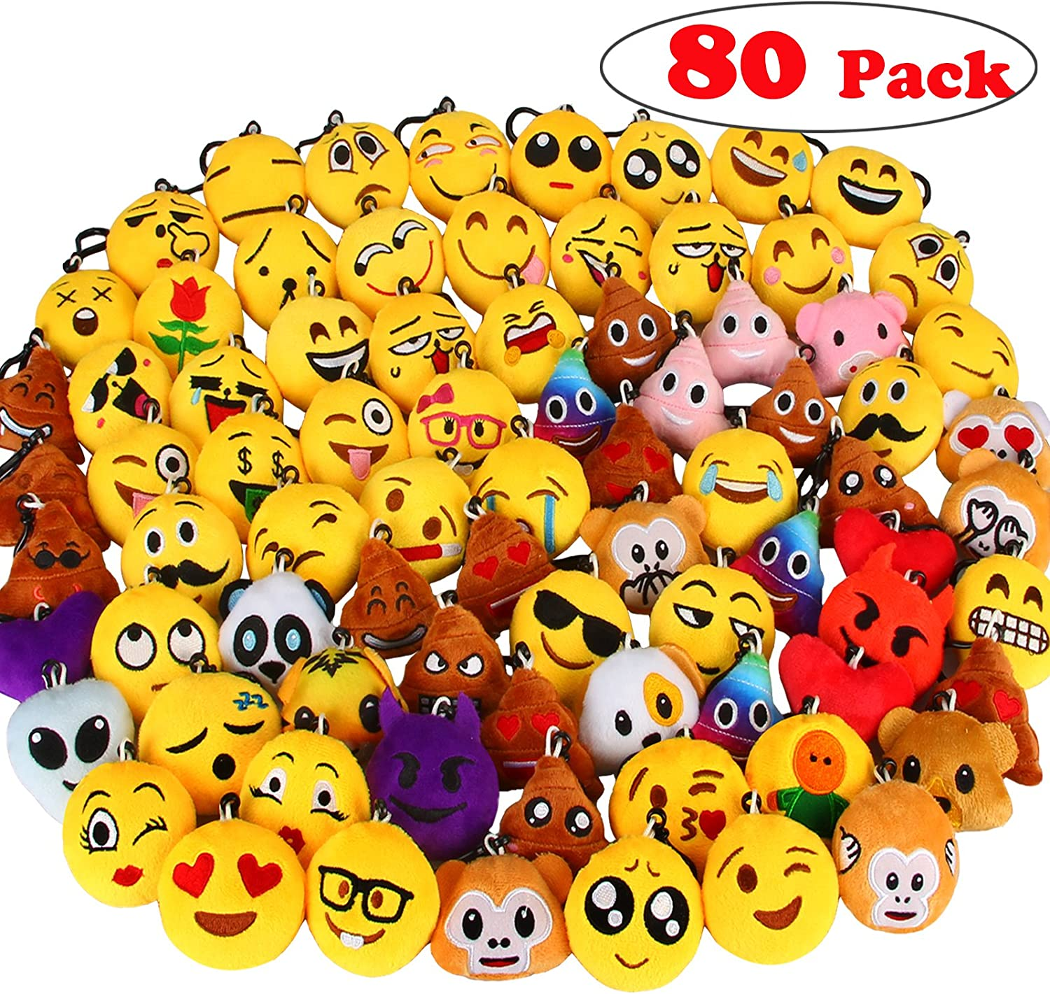 """Dreampark 80 Pack Mini Emotion Keychain Plush, Party Favors for Kids, Christmas / Birthday Party Supplies, Emoticon Gifts Toys Carnival Prizes for Kids 2"""" Set of 80"""