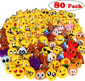 "Dreampark 80 Pack Mini Emotion Keychain Plush, Party Favors for Kids, Christmas / Birthday Party Supplies, Emoticon Gifts Toys Carnival Prizes for Kids 2"" Set of 80"