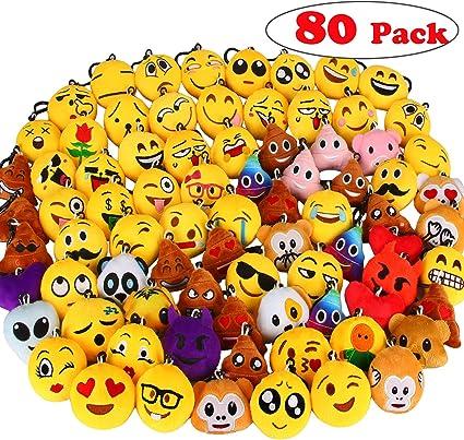 Dreampark Emoji Keychains Carnival Prizes for Kids Treasure Box Bulk Toy Assortment 2 Set of 30 Mini Emoji Plush Party Favors for Kids Christmas Birthday Party Supplies
