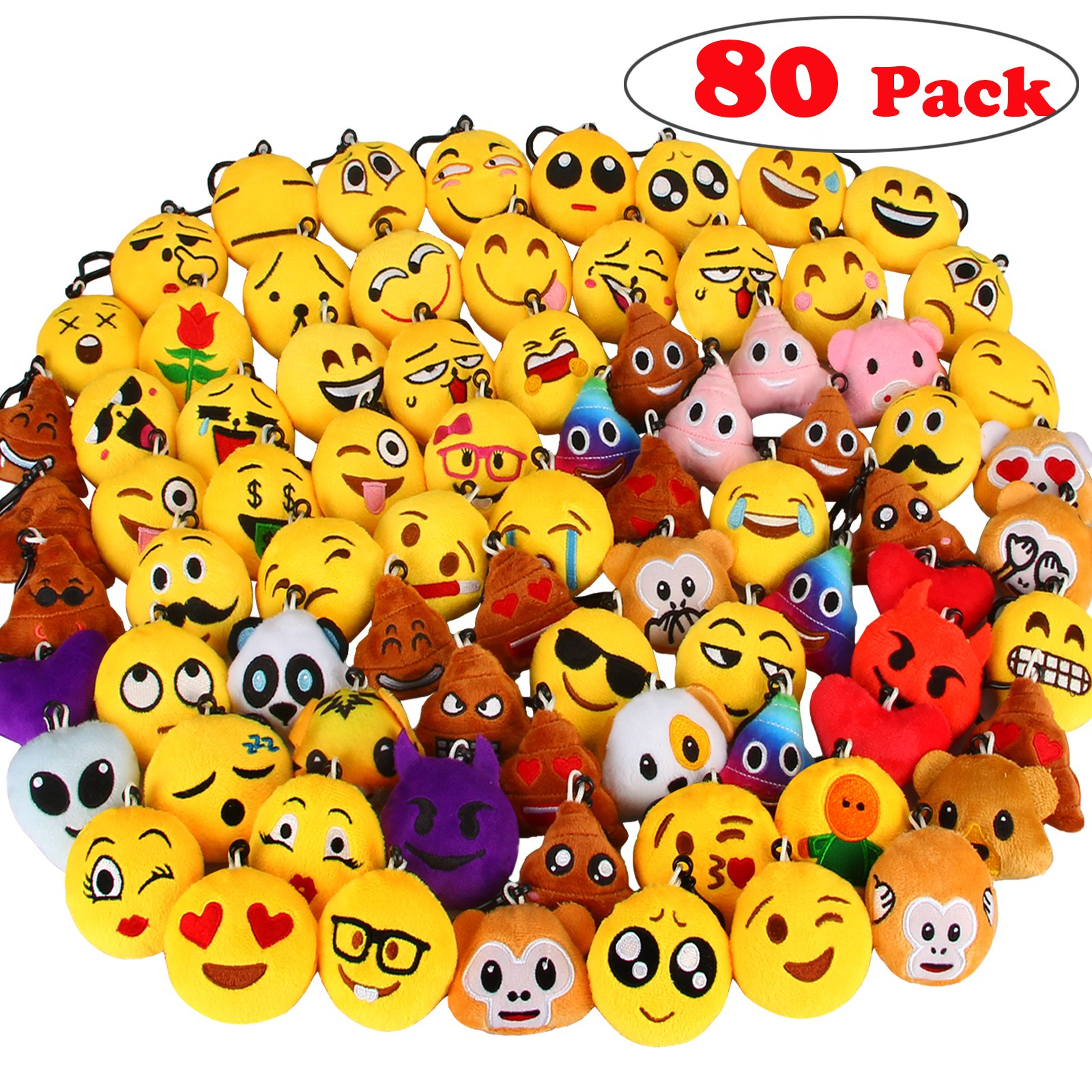 Dreampark 80 Pack Mini Emoji Keychain Plush, Party Favors for Kids, Christmas / Birthday Party Supplies, Emoticon Gifts Toys Carnival Prizes for Kids 2'' Set of 80 by Dreampark