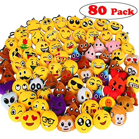 Dreampark 80 Pack Emoji Keychain Mini Plush Pillows Party Favors For Kids Christmas