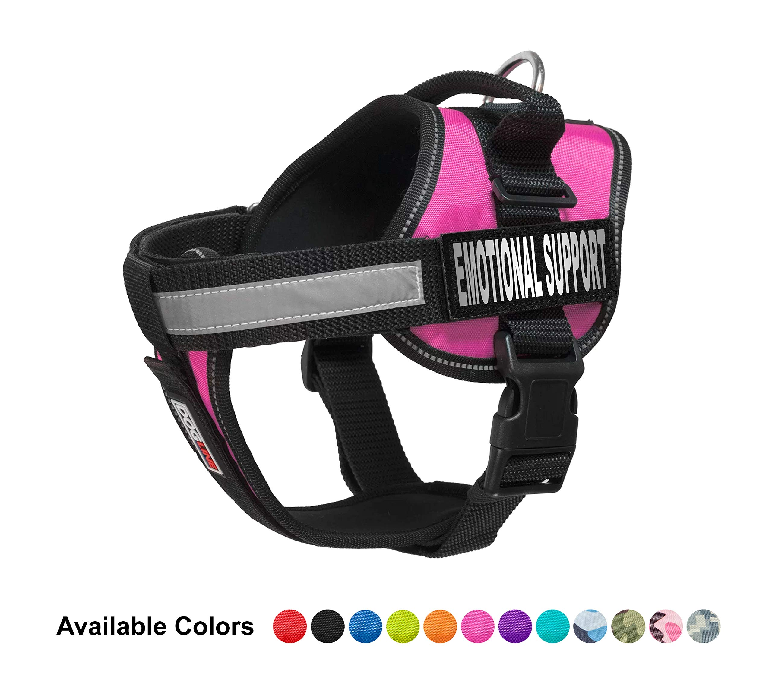 Dogline Vest Harness for Dogs and 2 Removable Emotional Support Patches, Small/18 to 25'', Pink