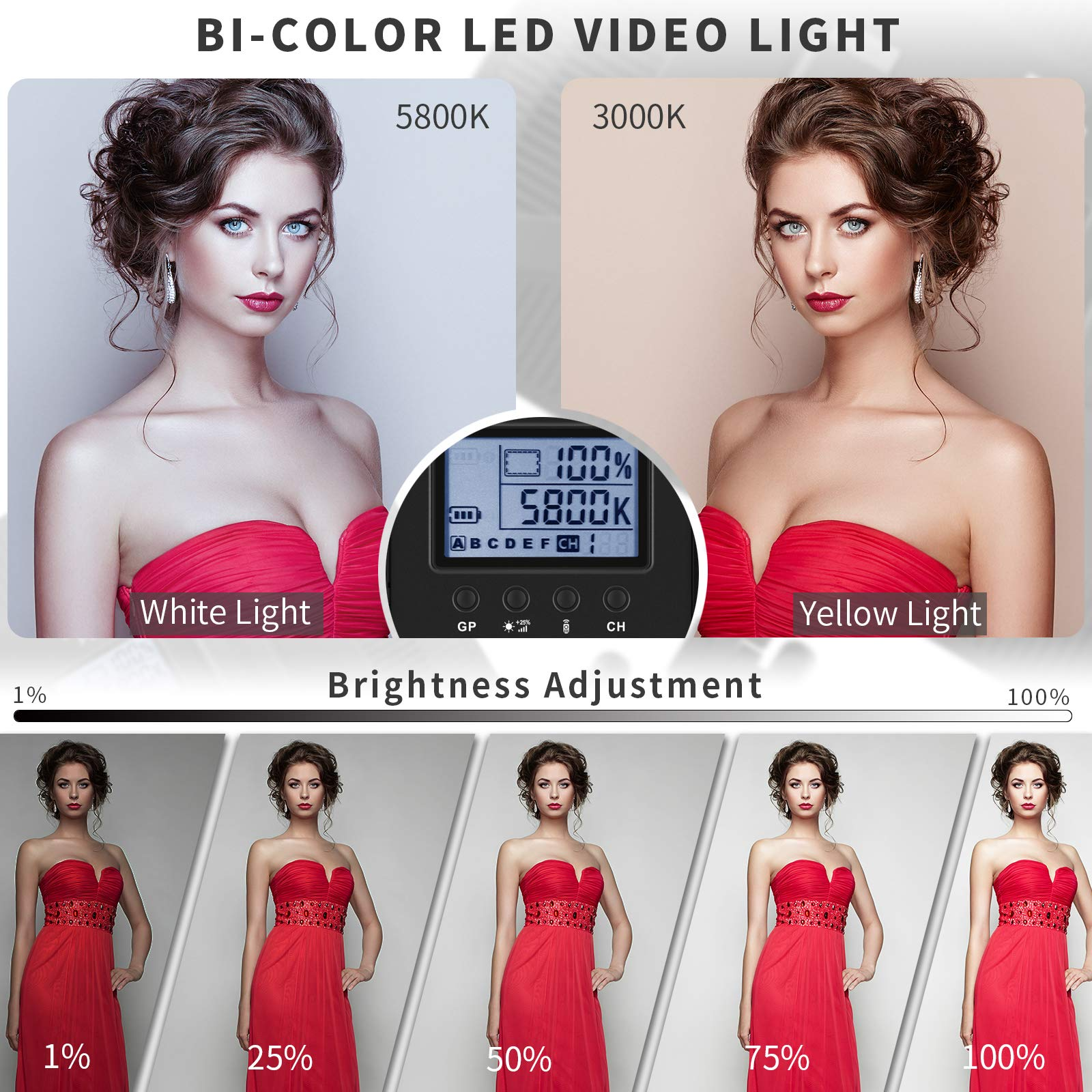 Bi-Color LED Video Light Stand Lighting Kit 3 Pack 15.4'' Large Panel 3000K-5800K 45W 4800LM Dimmable 1-100% Brightness Soft Light for YouTube Game Video Shooting Live Stream Photography Lighting by Dazzne (Image #2)