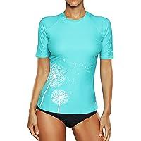 Attraco Women Rash Guard Short Sleeve Surfing Swimwear Top UPF50+ Rash Vest