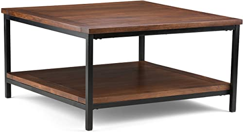 Simpli Home Skyler SOLID MANGO WOOD and Metal 34 inch Wide Square Modern Industrial Coffee Table in Dark Cognac Brown with Storage, 1 Shelf, for the Living Room, Family Room