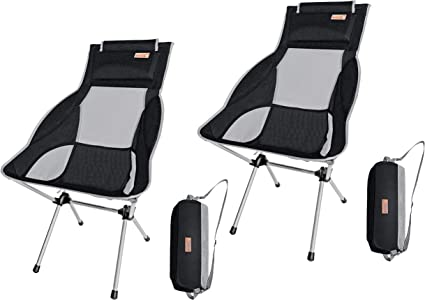 Nicec Ultralight High Back Folding Camping Chair With Headrest Outdoor Backpacking Compact Heavy Duty Outdoor Camping Bbq Beach Travel Picnic Festival With Carry Bag 2 Pack Of Black Amazon Ca Sports