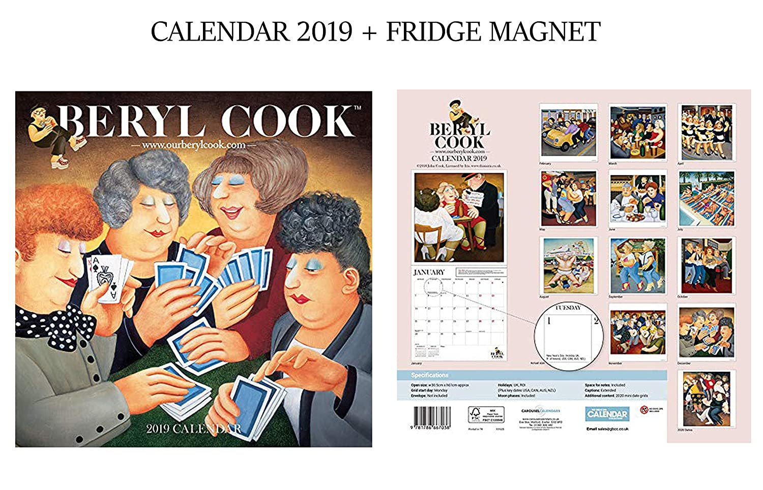 Beryl Cook Official Calendar 2019 + Beryl Cook Fridge Magnet GIFTSCITY