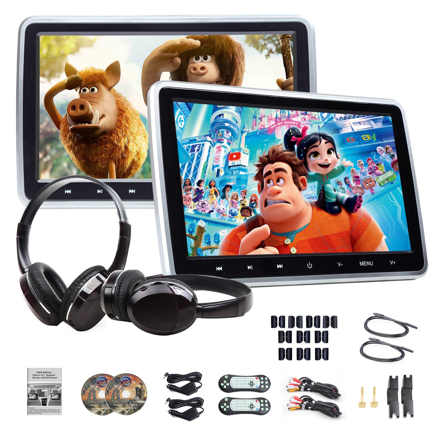 DVD Player 10.1'' Dual Car DVD Players with 2 Headphones Car Headrest Monitors Eonon C1100A Portable DVD Player for Kids Support Same/Different Video Playing/AV Out & in HDMI USB SD Port Touch Button by Eonon