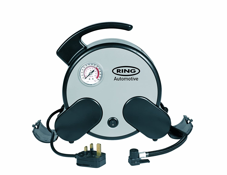 Ring RAC750 230V Mains Powered Rapid Tyre Inflator Inc Storage Bag and Adaptor Set