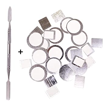 Palette metal stickers for magnetic makeup palettes depotting spatula 30pcs organizational stickers 15pcs
