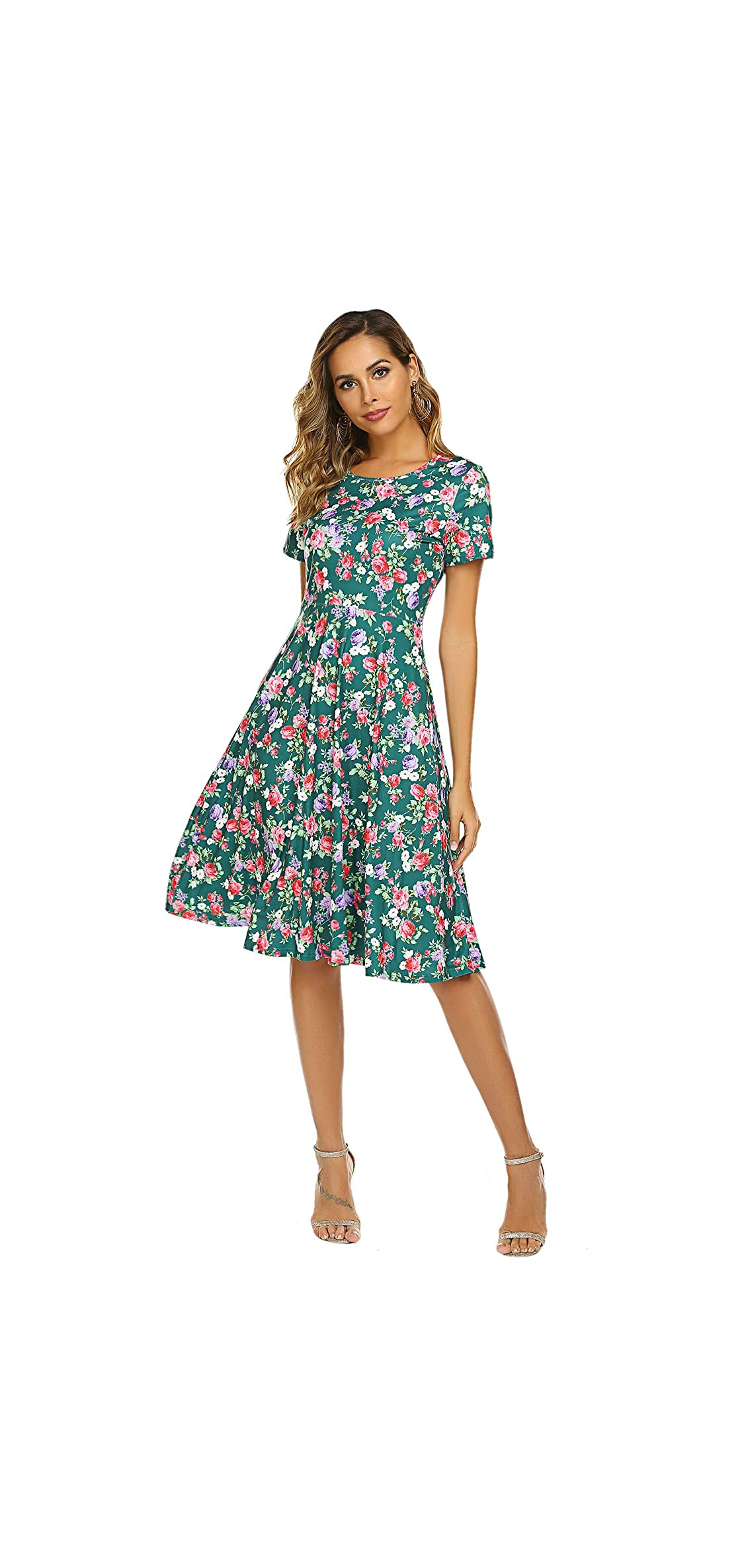 Women's Summer Casual Floral Print Short Sleeve Flared Midi