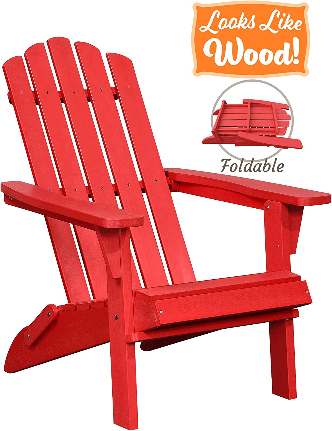 PolyTEAK Classic Folding Poly Adirondack Chair, Cardinal Red Adult-Size, Weather Resistant, Made from Plastic