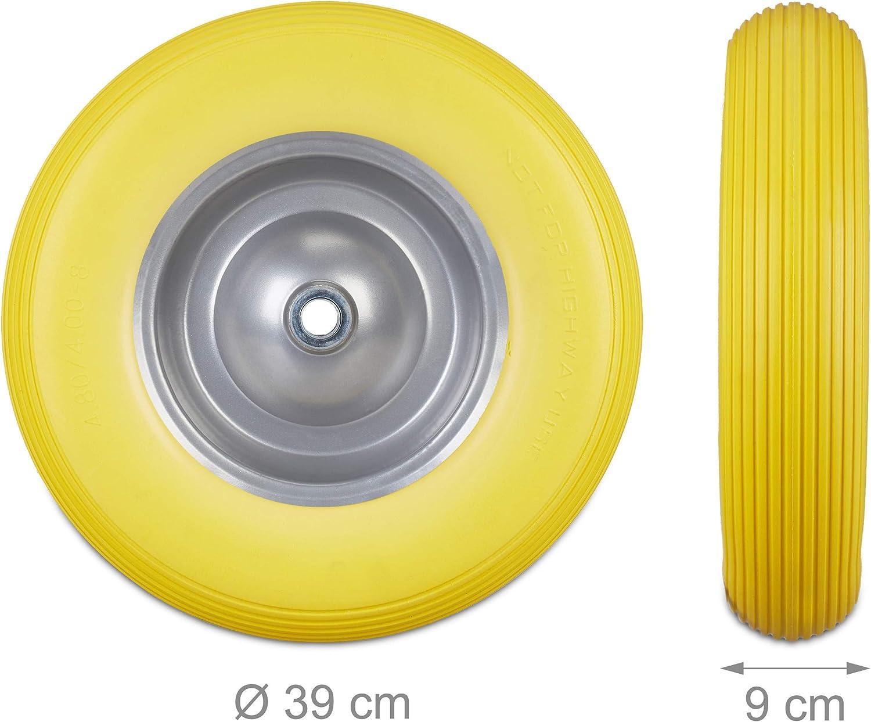 carico max 100 kg Grigio antipanne Giallo Ruota per carriola 4.80 4.00-8 in gomma piena cerchione di acciaio relaxdays