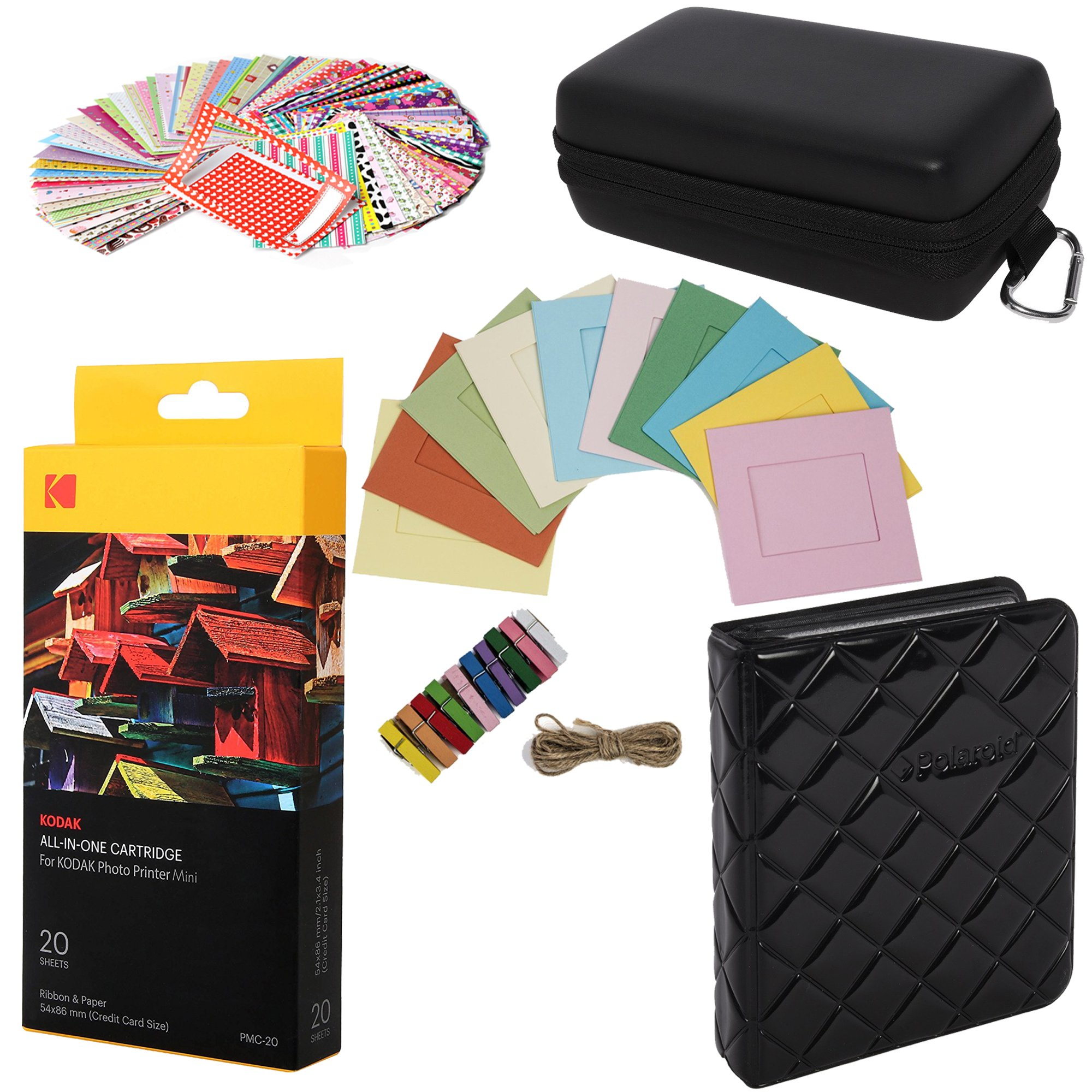 Kodak Mini Paper Cartridge Bundle + Deluxe Case + Album + Sticker Frames + Hanging Frames