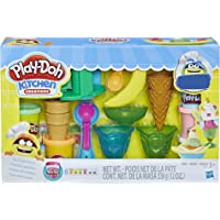 Play-Doh E2385 Kitchen Creations Ice Cream Party Play Food Set with 6 Non-Toxic Colors, 2 Oz Cans Brown
