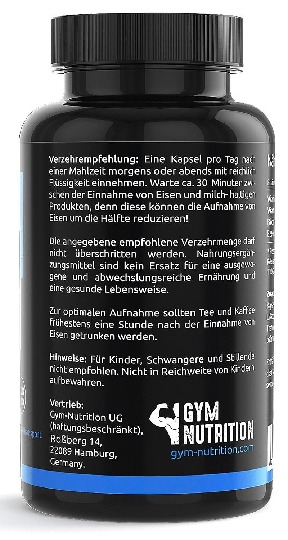 PREMIUM EISEN + Vitamin B12 + Vitamin C + Biotin Komplex Hohe ...
