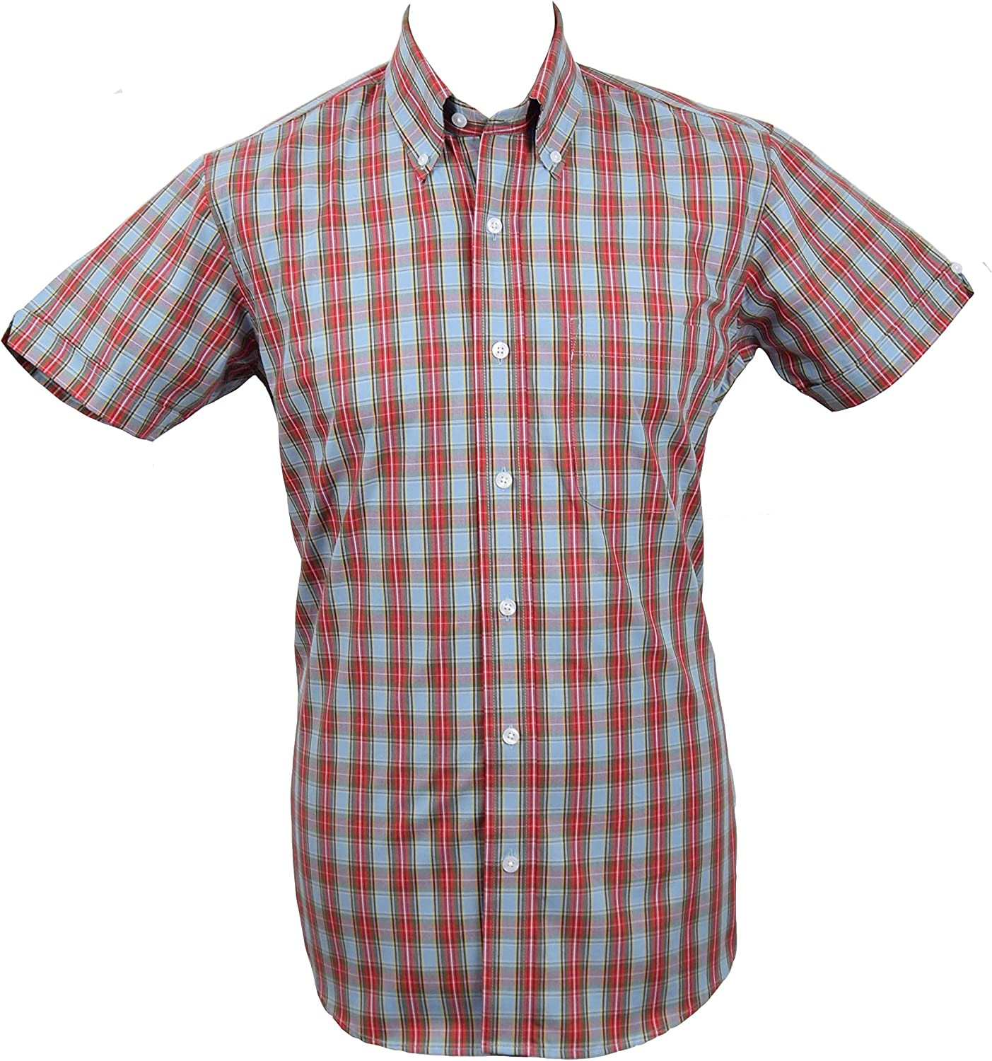 Relco Sky Blue Red Tartan Shirt Sizes Medium 3xl Available Large 40 42 Amazon Co Uk Clothing