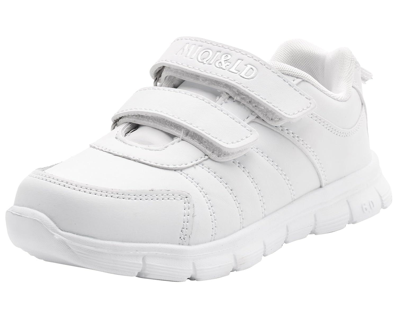 LONSOEN Kid's White School Uniform Sneaker(Toddler/Little Kid/Big Kid)