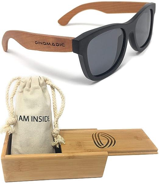 DINOMADic | Unisexo Polarizadas Gafas de Sol de Madera Ébano con Patas de Cerezo en Estuche