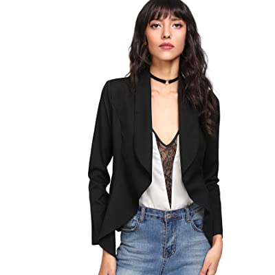 MAKEMECHIC Women's Petite Shawl Collar Open Front Casual Work Office Blazer Jacket at Women's Clothing store