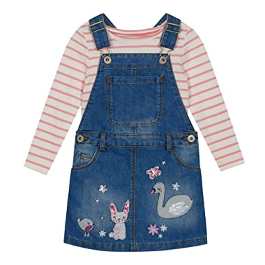 3e6bb9d3c94fb bluezoo Kids Girls' Multicoloured Embroidered Dunagrees and Top Set Age 4-5