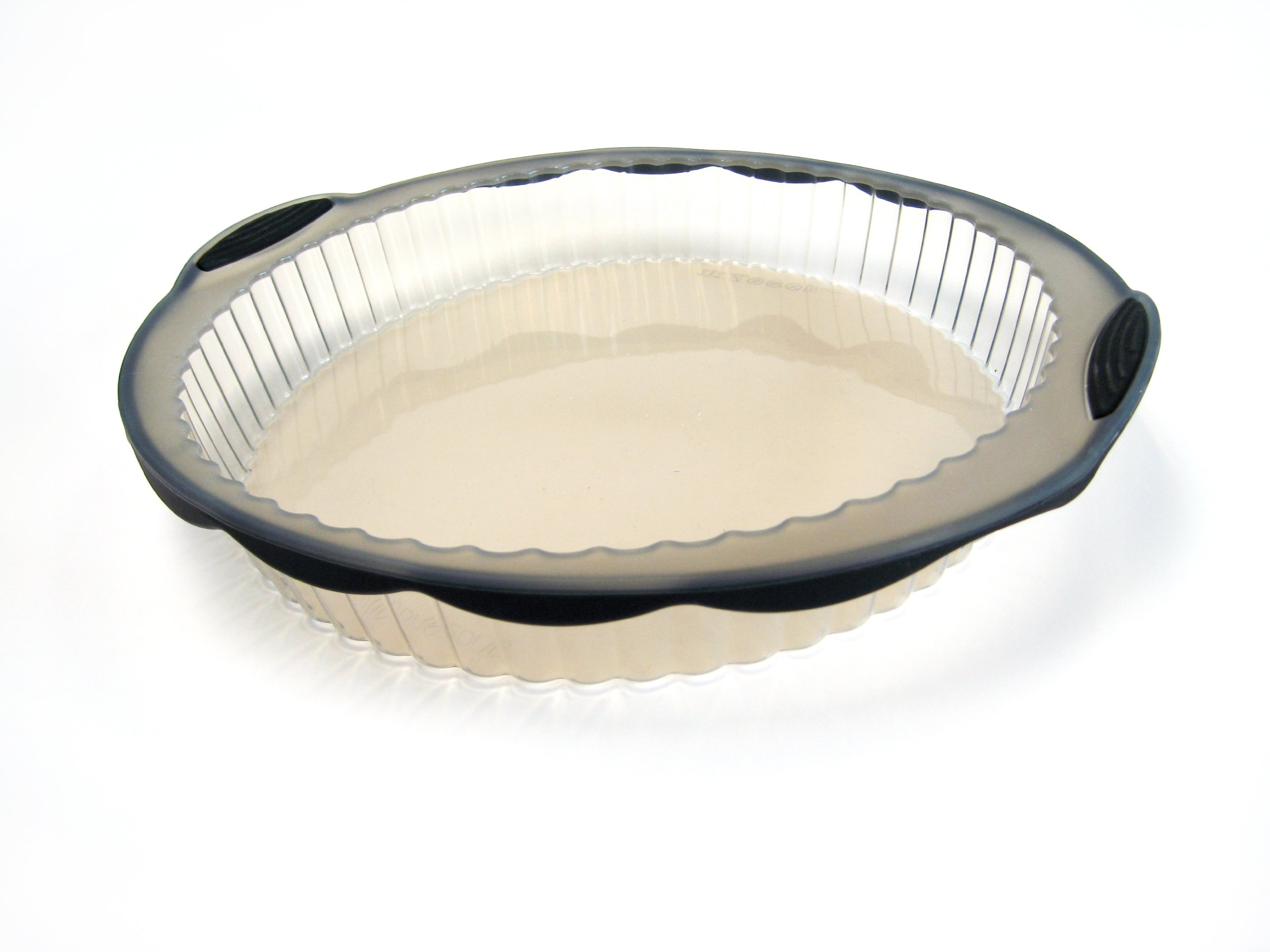 SiliconeZone Pure Collection 12'' Silicone Non-Stick Tart Pan, Freezer Safe, Oven Safe, Microwave Safe, Dishwasher Safe, BPA Free, Translucent Smoke & Black by Siliconezone