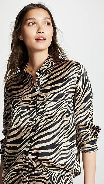 ANINE BING Women s Vivienne Silk Pajama Shirt at Amazon Women s Clothing  store  ab4d46fe1