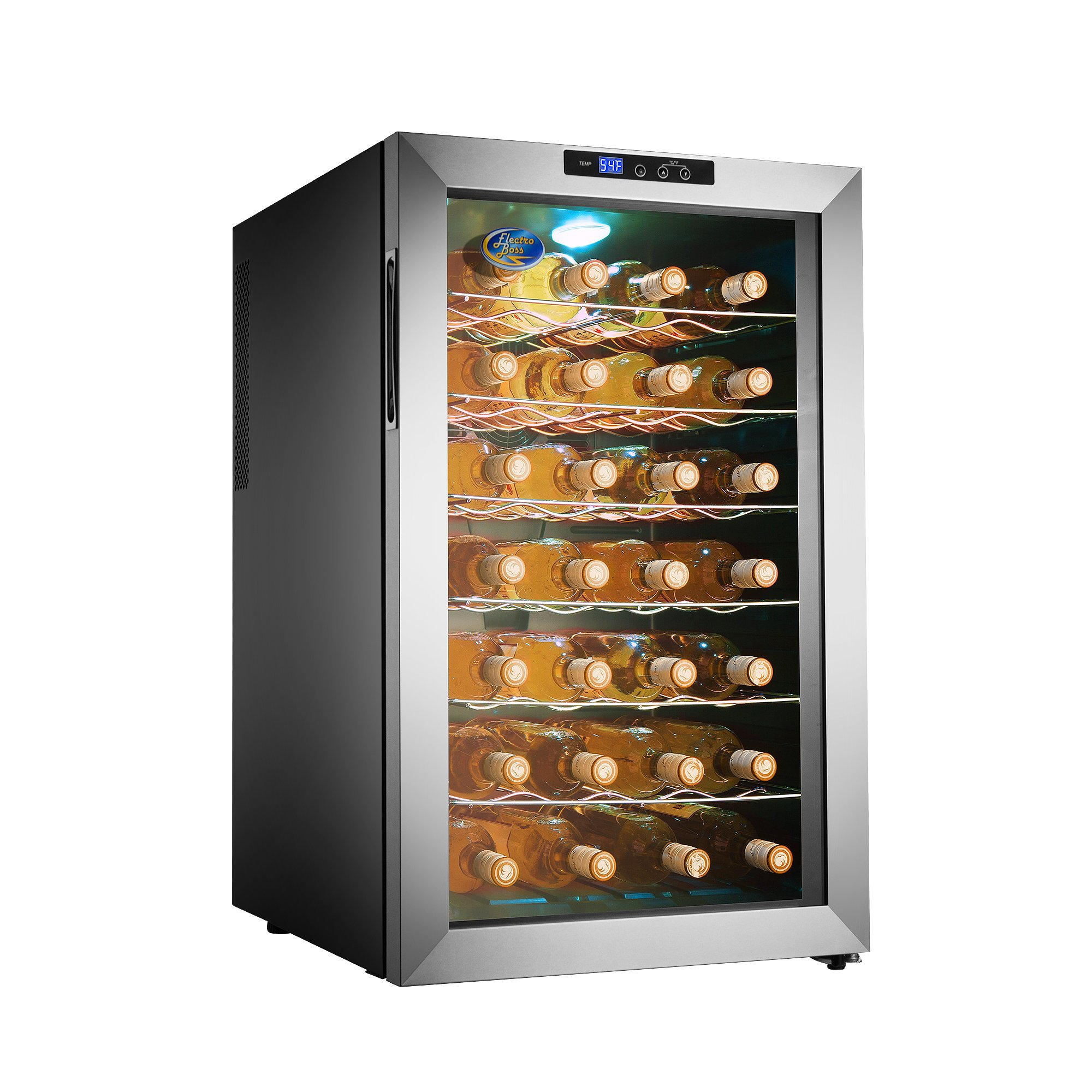 Electro Boss | 28 Bottle Thermoelectic Wine Cooler | Stainless Steel | Beverage Refrigerator