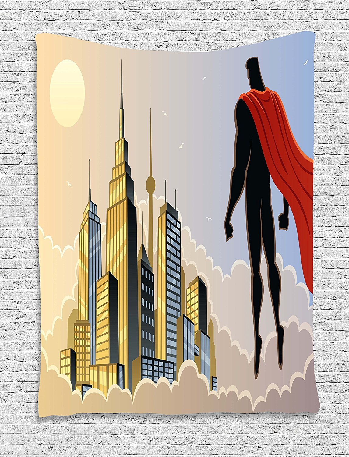 asddcdfdd Superhero Tapestry, Hero Watching the City on Clouds at Sunset Protector Fantasy Architecture Design, Wall Hanging for Bedroom Living Room Dorm, 60 W X 80 L Inches, Multicolor