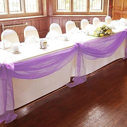 Amazon Vlovelife Lavender 197x53 Sheer Organza Top Table Swag