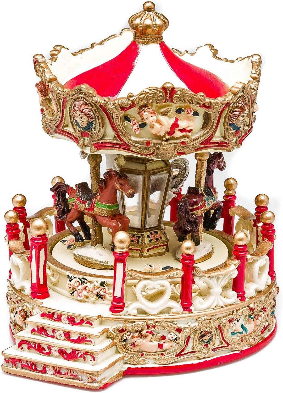 aubaho Bo/îte /à Musique Style carrousel avec Chevaux de Bois Style Antique