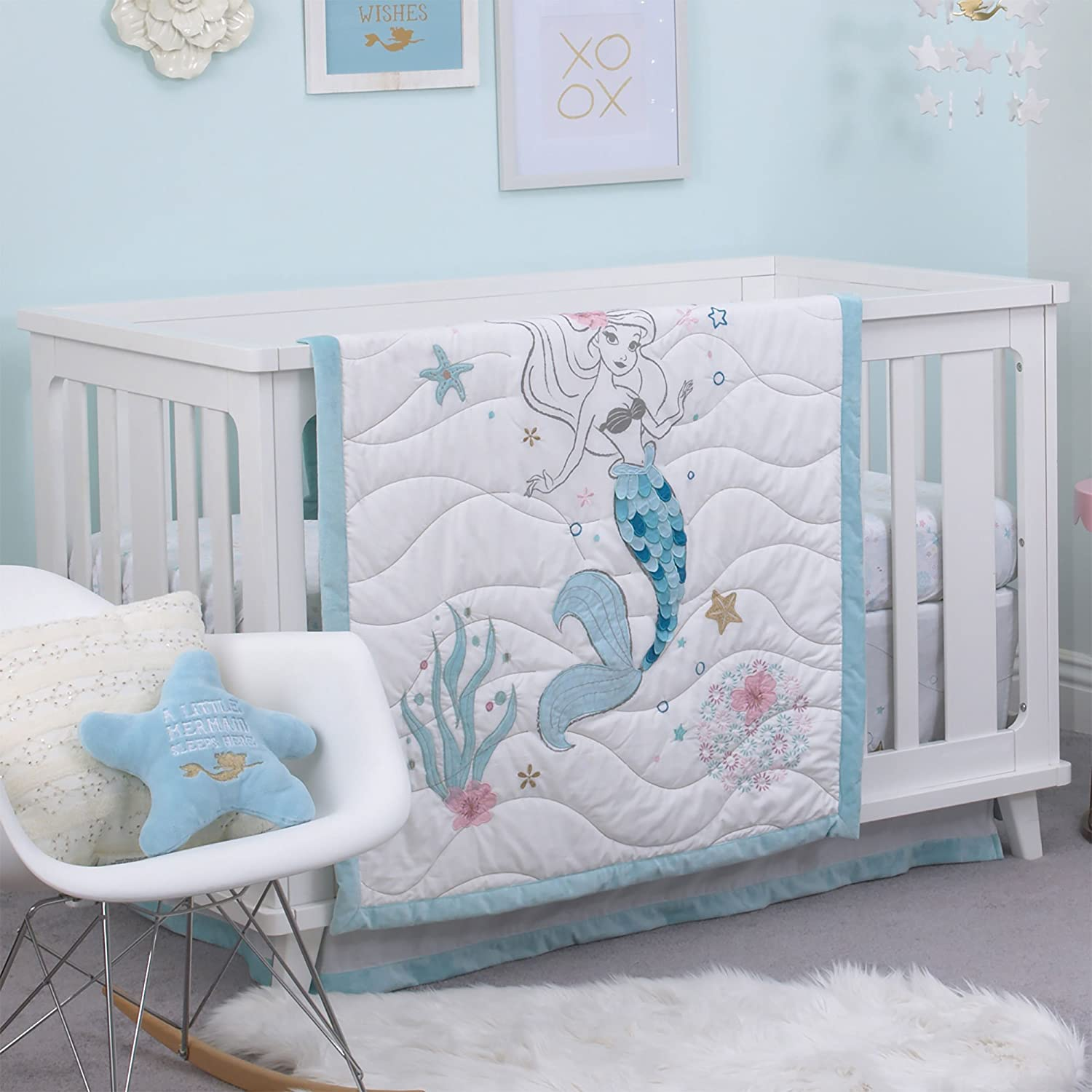 Disney Ariel Sea Princess 3 Piece Crib Bedding Set, Blue/White/Gold/Pink Crown Crafts Inc 3395276