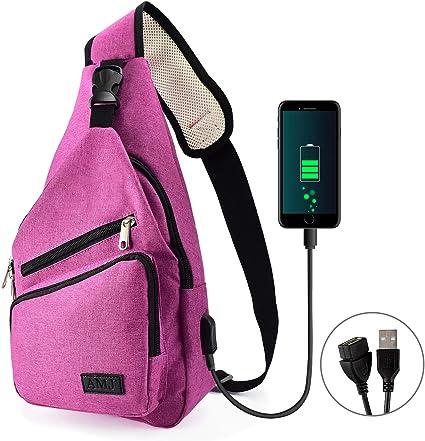 Color : Purple Big Bag Small Bag USB Charging Port Chest Shoulder Bag Casual Messenger Bag Shoulder Bag Backpack Men and Women Sports Outdoor Gym Tourism Hiking