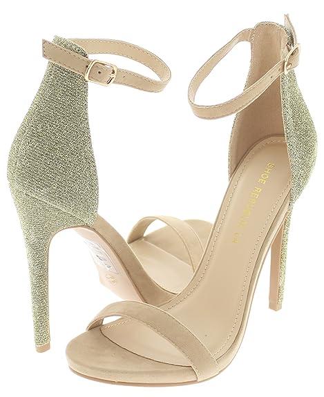 b6ca4c6bcf513 Amazon.com | Shoe Republic Glitter Back Open Toe Stiletto Sandal w ...