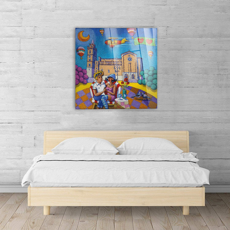 Quadri Moderni arredo casa Decoro Design Quadro Giallobus Pronto da Appendere Stampa su su Vetro Acrilico plexiglass Stefano Calisti 50x50 cm Vari Formati Coppia di Innamorati