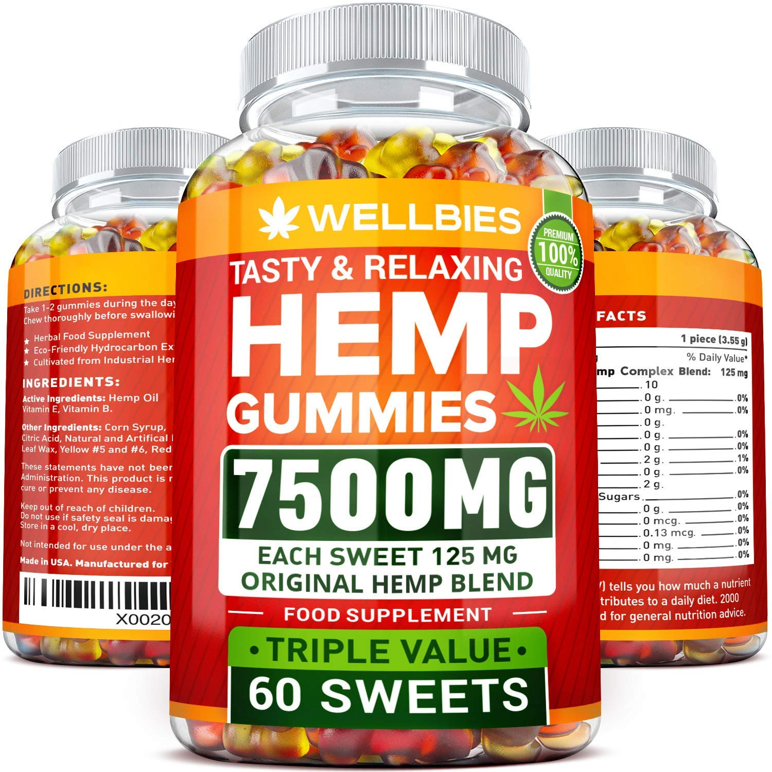 Premium Hemp Gummies - Natural Hemp - Made in USA - King Size 7500MG - Boost Memory Function, Improved Sleep, Support Good Mood - Fast Results - Rich in Vitamins B, E, Omega 3, 6, 9