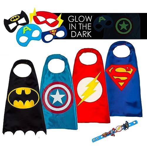 LAEGENDARY Costumes de Super Héros pour Enfants Cadeaux d'anniversaire ou d'halloween - 4 Capes et Masques - Logo Captain America Qui Brille dans Le Noir – Jouets pour Filles et Garçons …