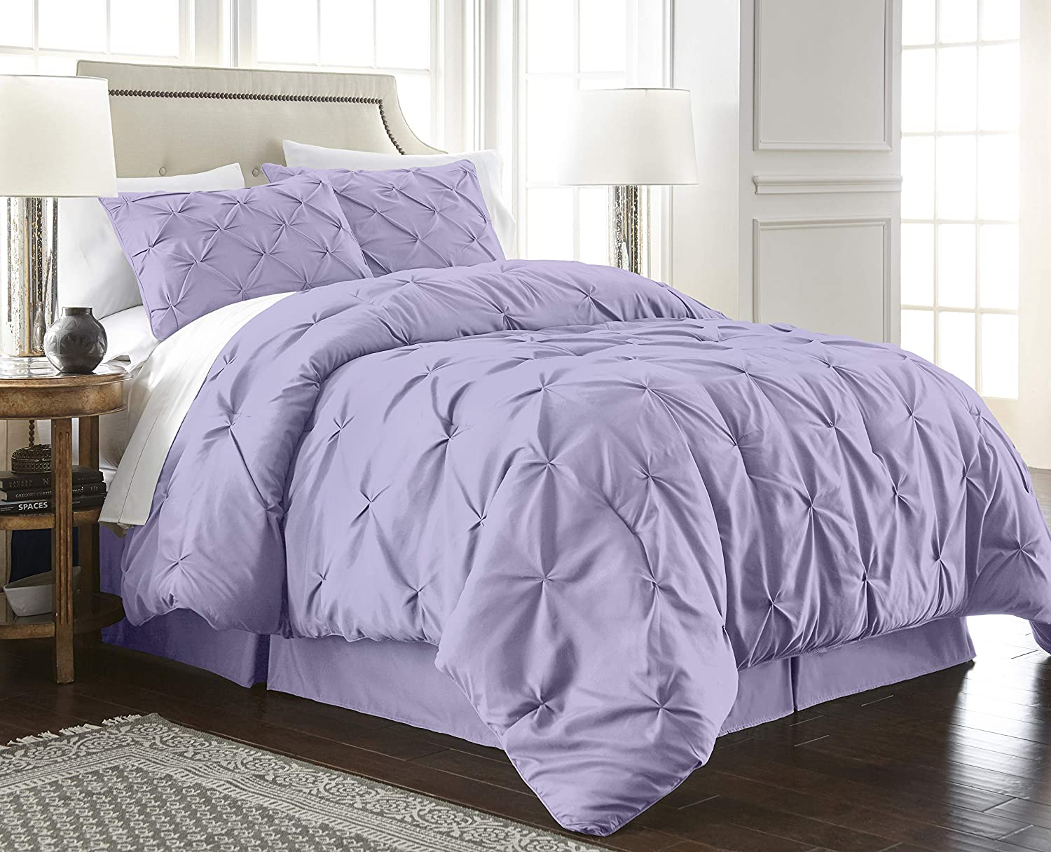 Chezmoi Collection Berlin 3-Piece Pintuck Pinch Pleat Bedding Comforter Set (Full, Lavender)