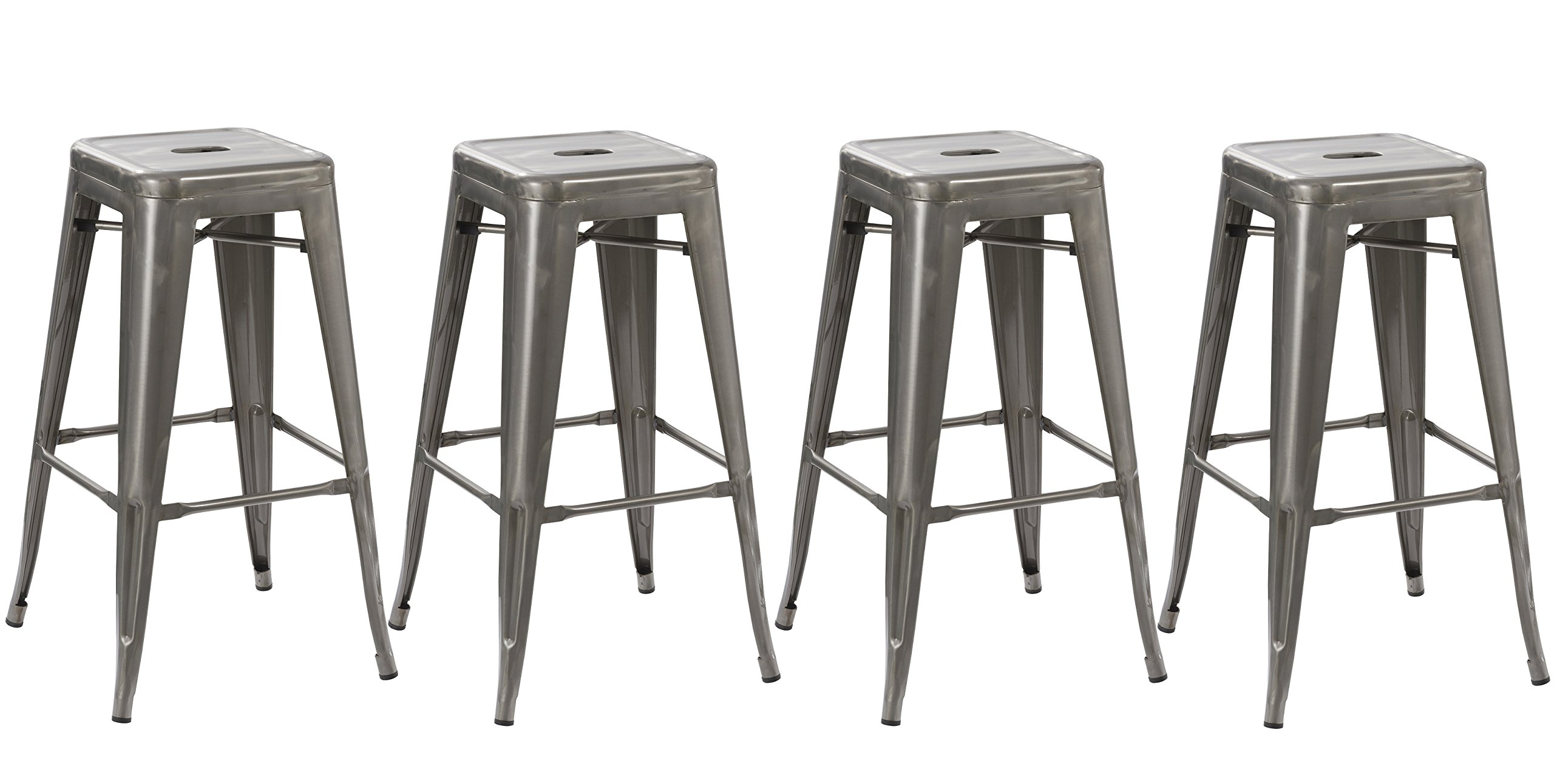 BTEXPERT Solid Steel Stacking Industrial Distressed Rustic Metal Tabouret Dining Room Modern Steel Barstool, 30'' L, Set of 4 by BTEXPERT