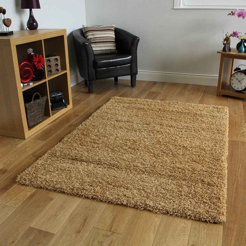 BISCUIT BEIGE SOFT THICK LUXURY SHAGGY RUG 9 60cmx110cm (2ft x 3ft7) The Rug House XS Beige Stockholm