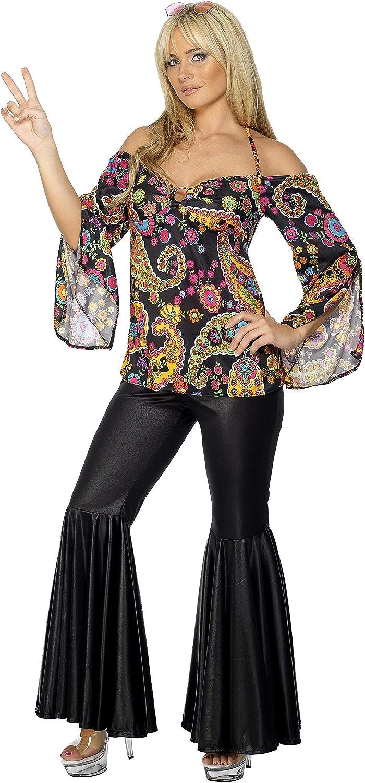 70s Costumes: Disco Costumes, Hippie Outfits Smiffys Hippie Costume Female Black XL (20-22 UK) (48 - 50 EU)) £15.85 AT vintagedancer.com